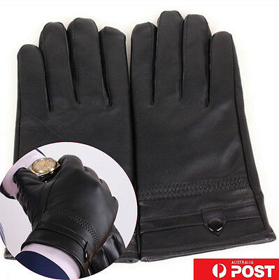 Mens Genuine / Real Leather Gloves - Medium - Winter / Snow / Bike Warm Black BO