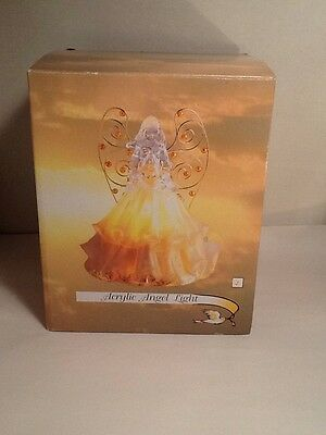 Acrylic Angel Light With Beaded Wings Amber Yellow Still Sealed In Original Box
