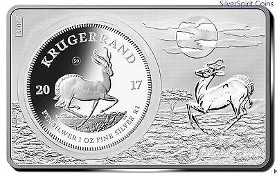 2017 KRUGERRAND 50th ANNIVERSARY SILVER PROOF INGOT & COIN 3oz Silver Set