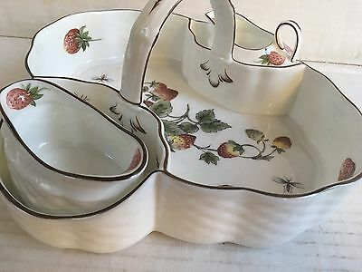Coalport Strawberry butterfly  Bone China Basket w/Creamer and Sugar England