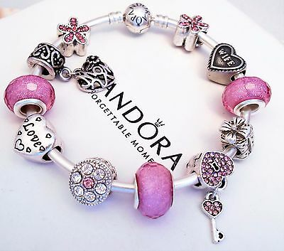 Authentic Pandora Silver Bangle Charm Bracelet With Pink Wife European Charms.