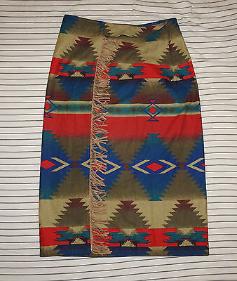 Vintage Womens WOOLRICH Tribal Geometric Ethnic Navajo Wrap Around Skirt M USA