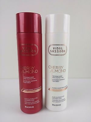 Vidal Sassoon Cherry Almond Shampoo and Conditioner Set 12.9 fl oz 384 ml - NEW