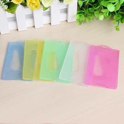 5 Candy Colors Transparent Plastic ID Card Badge Pass Holder  Practical