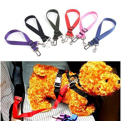 Auto Traction Clip Car Travel Pet Dog Seat Belt Safety Harness Adjustable