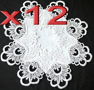 12pc Wholesale White Lace Round Table Doilies Placemat Wedding Decoration
