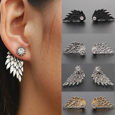 Women Angel Feather Wing Earrings Rhinestone Hook Ear Stud Hoop Gift UK