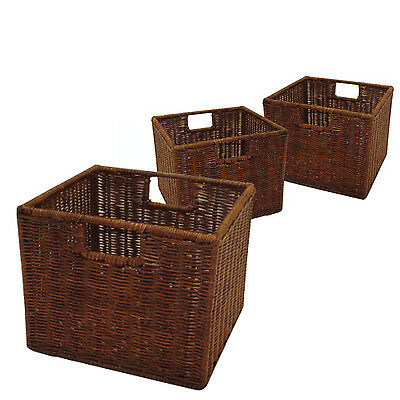 Rattan Storage Baskets by Winsome | Set of 3 Small Wired Tightly RATTAN Woven
