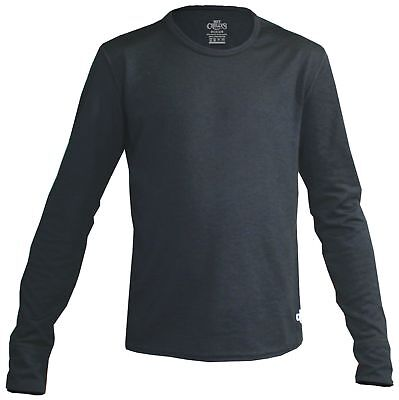 Hot Chillys Youth Midweight Banded Crew (Black, Large)