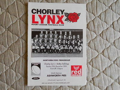 Chorley Lynx V Batley Bulldogs Northern Ford Premiership Match Programme 2001