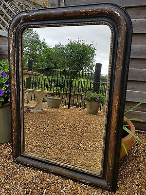 19th Century Antique French Louis Philippe Ebonised Foxed Mirror