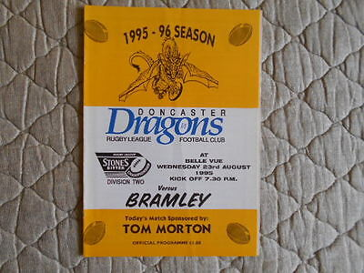 1995/96 Doncaster Dragons V Bramley Rugby League Division Two Match Programme