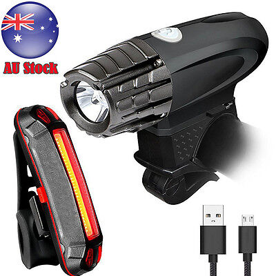 AU USB Rechargeable Cycling Bicycle Bike Head Front Light Tail Rear LED Lamp Set