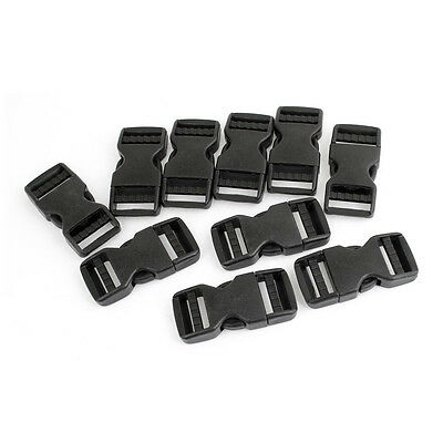"10 Pcs 1"" Packbag Black Plastic Side Quick Release Buckle Replacement Z3Z7"