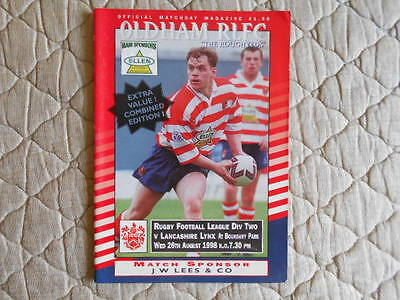 Oldham V Lancashire Lynx Rugby League Division Two Match Programme 1998