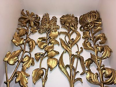 """Syroco Flowers 3D Wall Art Vintage Gold Set Of Four 20"""" LongStem Flowers MidCent"""