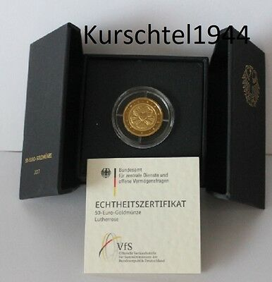 50 EURO Deutschland BRD 2017 GOLD MÜNZE LUTHERROSE MARTIN LUTHER ROSE GERMANY  D