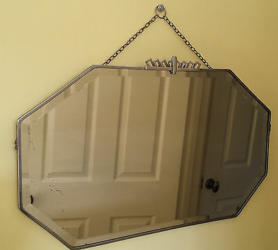 Stunning Large 1930s Art Deco Wall Mirror on Chain. Chrome Frame Bevelled Edge