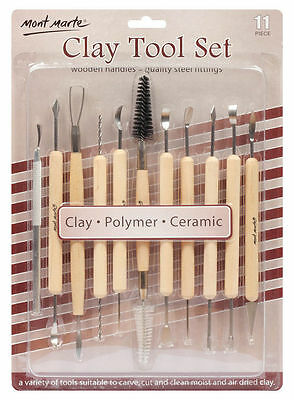 Mont Marte Pottery & Polymer Clay Tool Set 11pc - Art Artist Sculpture Carving