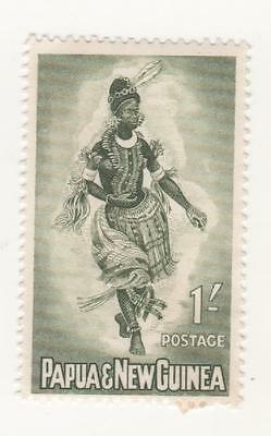 1961 -1963 PNG Papua New Guinea 1/- Green FEMALE DANCER  - Mint hinged MM MH