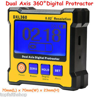 Dual Axis 360 Digital Meter Protractor Level Box Angle Finder Inclinometer Gauge