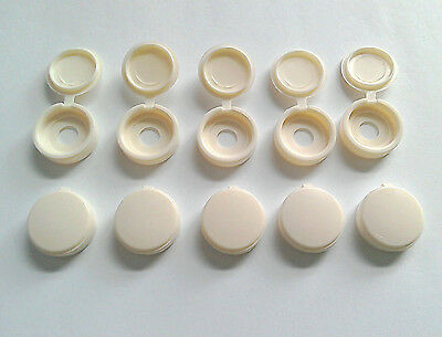 10 x Bailey caravan motorhome hinged cream 18mm screw cap cover 1490215  SCC1