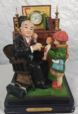 1929 Norman Rockwell Saturday Evening Post Figurine Clock Doctor and the Doll &