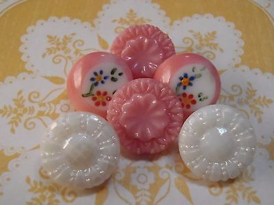 6 Vintage Glass Buttons 13mm 2 Painted 2 Pink 2 White sew craft knit scrapb