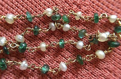 Vintage Natural Pearl & Emerald & 18ct Gold necklace.Real Natural Basra Pearls.