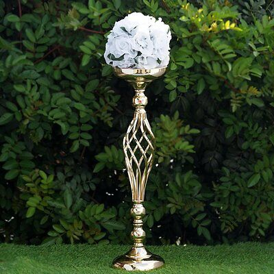 "2 pcs GOLD METAL 22.5"" tall Candle Holder Vase Centerpiece Party Decorations"