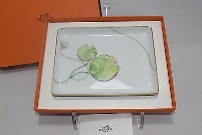 Hermes Nile Porcelain Rectangular Square Sushi Plate Tray with Box Authentic