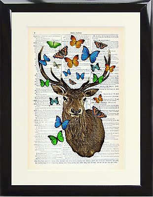 Dictionary Art Print Stag Deer with Blue Butterflies Picture Vintage Antlers