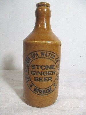 "Antique Brisbane Australia Fowler ""helidon Spa Water"" Stone Ginger Beer Bottle"