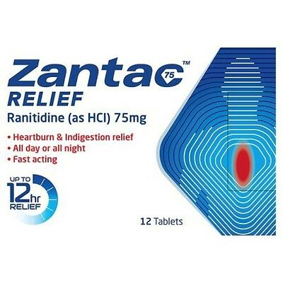 Zantac 75mg Heartburn Relief And Acid Indigestion Quick Long Lasting 12 Tablets