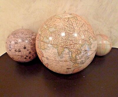 Set 3 Hanging Globes World Maps Decorations Old World w/ Latin + Modern