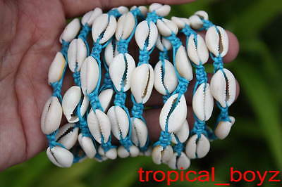10 Shamballa Cowrie Cowry Seashell Sea Shell BLUE Nylon Bracelets Wholesale