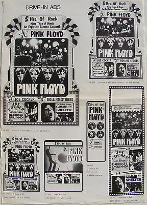 PINK FLOYD, JOE COCKER 'MAD DOGS' ROLLING STONES 'GIMME SHELTER' drive-in slicks