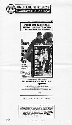 "SLAUGHTERHOUSE FIVE original 1972 14"" by 8 1/4"" Ad Supplement -folded,near mint"
