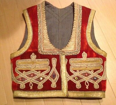 "Vintage Ottoman Turkish Waistcoat Velvet Vest in Red and Gold 19""L X 17""W"