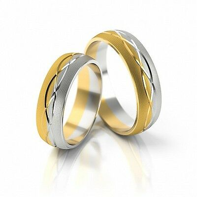 1 Pair Wedding rings Bands wedding rings Gold 333 - Wide 7mm - High 1,6 mm TOP