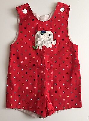Vintage Baby toddler Red Elephant Shortall One-Piece Romper 4T Or Smaller