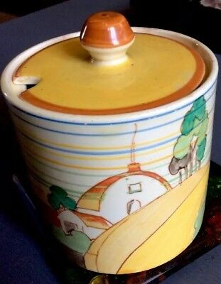 Clarice Cliff Brookfields Design Unusual Preserves Pot With Lid