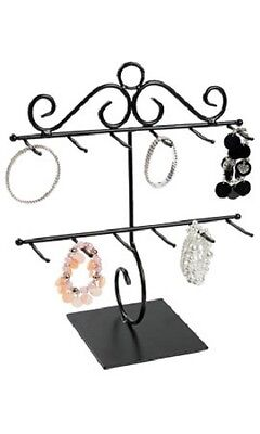 "Bracelet Display Countertop Two Tiered Black Metal 12 ¾""W x 14 ¼""H  Sign Holder"