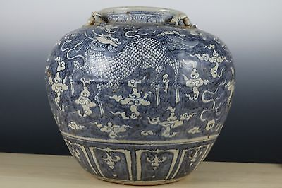 Huge Beautiful Chinese Blue and White Porcelain Dragon Pots