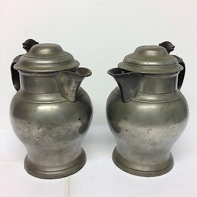 Antique Pair Of Pewter Ale/cider Jugs With Lids 18.5cm High