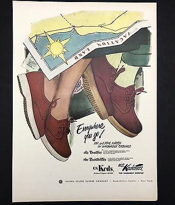 1952 Vintage Print Ad 1950s KEDS Shoes Foot Fashion Illustration Travel Map
