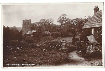 WHITCHURCH CANONICORUM View in the Village, Old Postcard Postally Used