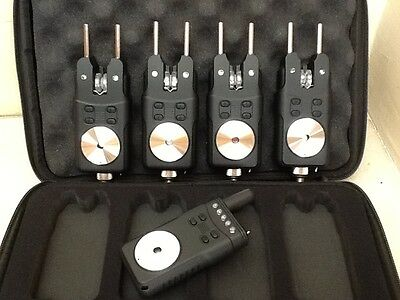 Quality set of 4 Bite alarms with receiver & snag ears