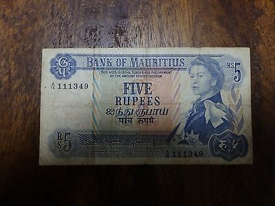 Mauritius 5 Rupees ND 1967 QEII Bank Note