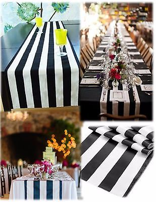 """5 Black and white Table Runners 108"""" 3D Black White Striped satin"""